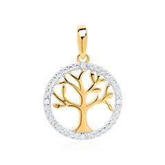585er Goldanhänger Lebensbaum mit Diamanten
