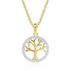 14ct Gold Chain Tree Of Life With Diamonds