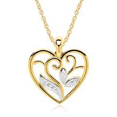 Herzkette 14-karätigem Gold Diamant