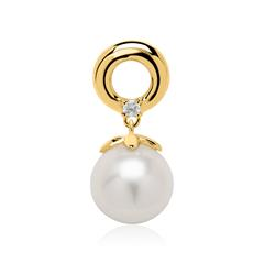Anhänger aus 14 Karat Gold mit Perle und Diamant