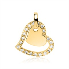 Anhänger Herzen aus 585er Gold mit Diamanten
