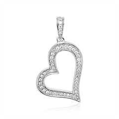 585er Weißgold Herzanhänger mit Diamanten