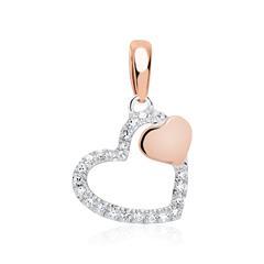 Anhänger Herzen 585er Weiß- und Roségold mit Diamanten