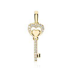 Anhänger Schlüssel aus 750er Gold mit Diamanten