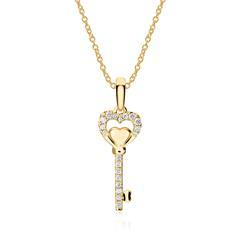 Kette Schlüssel aus 750er Gold mit Diamanten