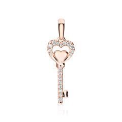 Anhänger Schlüssel aus 18K Roségold mit Diamanten