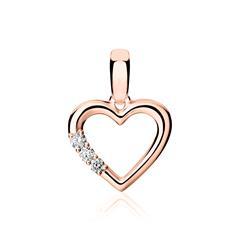 585er Roségold Anhänger Herz mit Diamanten
