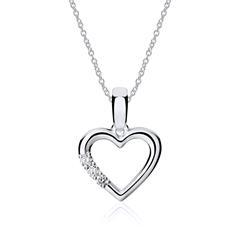 Herzkette 14k Weißgold Diamanten