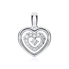 Anhänger Herz aus 14K Weißgold mit Diamanten
