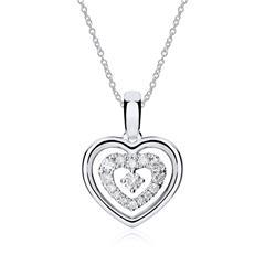 Kette Herz 18k Weißgold Diamanten