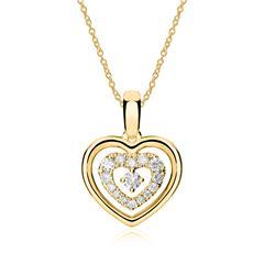 Herzkette aus 585er Gold mit Brillanten