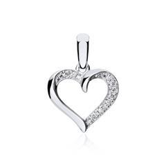 585er Weißgold Anhänger Herz mit Diamanten