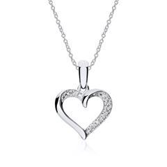 585er Weißgold Kette Herz mit Diamanten