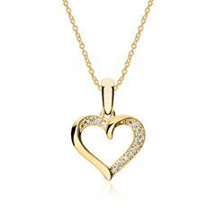Kette Herz aus 585er Gold mit Diamanten