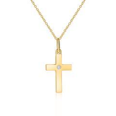 Kreuzkette aus 585er Gold mit Diamant