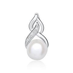 Anhänger aus 14K Weißgold mit Perle und Diamanten