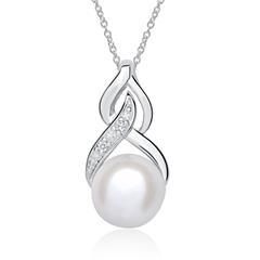 Halskette aus 14K Weißgold mit Perle und Diamanten