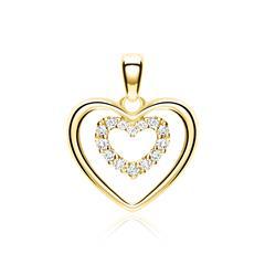 Anhänger Herzen aus 14K Gold mit Diamanten