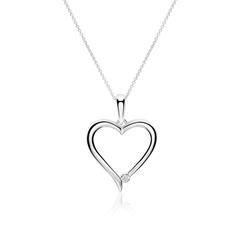Kette Herz aus 14K Weißgold mit Diamant
