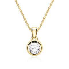 Kette aus 14-karätigem Gold mit Diamant