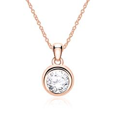 Kette für Damen aus 14K Roségold mit Diamant