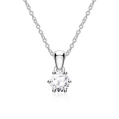 Necklace For Ladies In 14K White Gold With Diamond