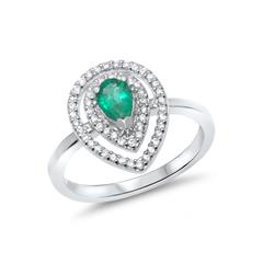 Perfekt: Weissgoldring Smaragd- Diamantbesatz Aktion