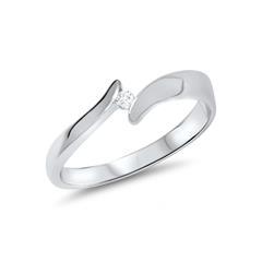 Ring aus echtem 585er Weissgold mit Diamant