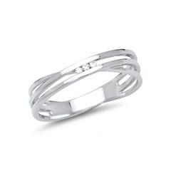 585er Weissgold Ring mit drei echten Diamanten
