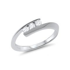 585er Weissgold Ring mit echtem Diamantbesatz