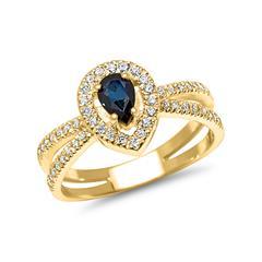 14-Karätiger Goldring mit Diamanten und Saphir