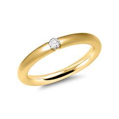 Mattierter 585er Gelbgoldring mit echtem Diamant