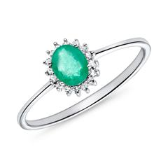 Emerald Ring In 14K White Gold With Diamonds