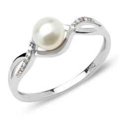 Twistring Perle Diamanten 0,19 ct Weißgold