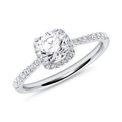 Verlobungsring Weißgold Diamanten 0,75 ct gesamt