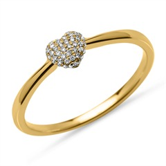 Ring 45 Diamanten 0,10 ct Herz 750er Gelbgold