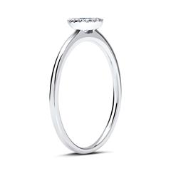 750er Ring 14 Diamanten 0,06 ct. und 1 Saphir 0,21 ct.