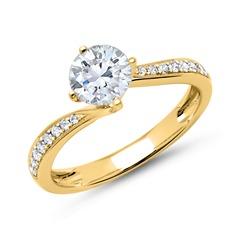 Verlobungsring 14 Karat Gold mit Diamanten