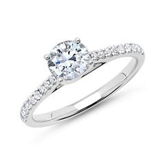 585er Weißgold Diamantring