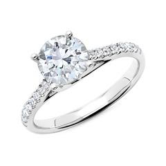 585er Weißgold Damenring mit Diamanten