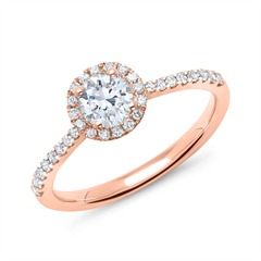 750er Roségold Halo Ring mit Diamanten