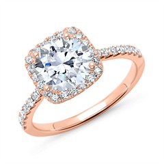 Halo-Ring 585er Roségold mit Diamanten