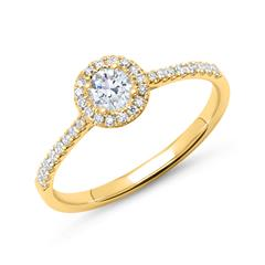 750er Gold Halo Ring mit Brillanten
