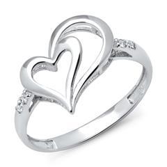 585er Weißgold-Ring und 4 Diamanten 0,028 ct.