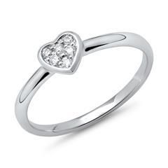 585er Weißgold-Ring Herz 6 Diamanten 0,09 ct.