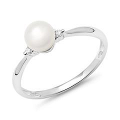 14ct White Gold Ring Bead 2 Diamonds 0,034ct