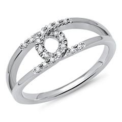 585er Weißgold-Ring Eternity mit 18 Diamanten 0,09 ct.