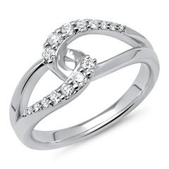 585er Weißgold-Ring verschlungen mit 16 Diamanten 0,33 ct.