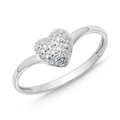585er Weißgold-Ring Herz 3 Diamanten 0,015 ct.