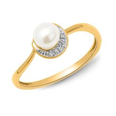 585er Gelbgold-Ring Perle 3 Diamanten 0,014 ct.